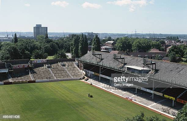 A general aerial view of The Dell home of Southampton FC between 1898 and 2001 pictured on July 1 1980 in Southampton England