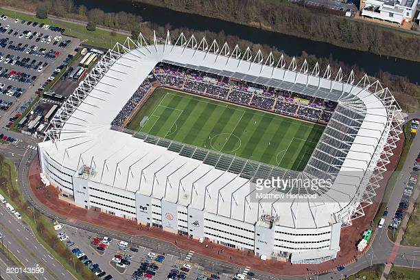 General aerial view of the Liberty Stadium as Swansea City play Chelsea in the Barclays Premier League on April 9 2016 in Swansea Wales Swansea City...
