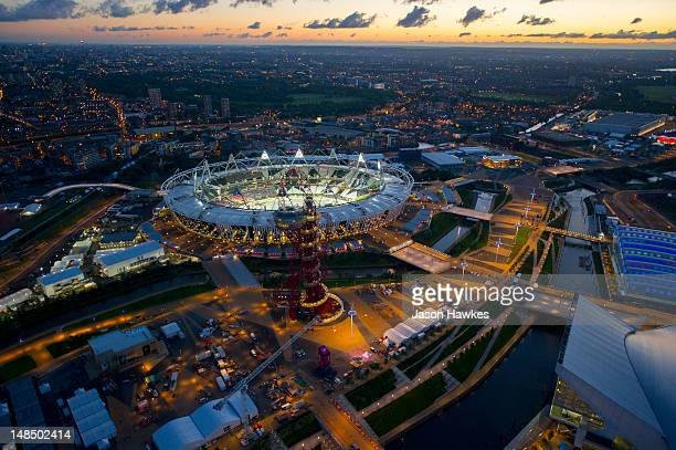 A general aerial view of the Olympic Stadium at dusk at the 2012 Olympic Park on June 282012 in StratfordLondonEngland