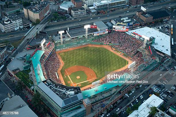 General aerial views of Fenway Park during a game between the Boston Red Sox and Chicago White Sox in Boston Massachusetts on July 29 2015