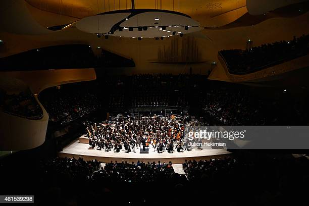 A general ambiance of atmosphere of the Philharmonie De Paris Symphonic Concert Hall opening party on January 14 2015 in Paris France