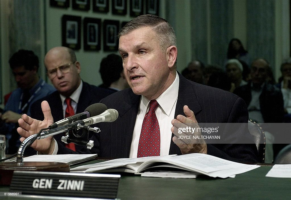 US General Anthony Zinni, recently retired as regional commander for the Middle East, testifies 19 October 2000 on Capitol Hill in Washington DC before the Senate Armed Services Committee during a hearing on issues related to the 12 October 2000 attack on the USS Cole. Zinni , who arranged for US warshhips to refuel in Yemen, said the Yemeni port of Aden was selected in 1997 as the best option from a list of insecure places to fuel ships in one of the region's most strategic points. AFP PHOTO Joyce NALTCHAYAN