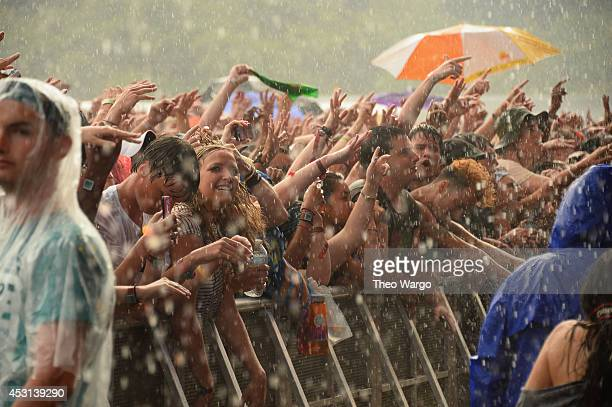 General atmosphere and rain during 2014 Lollapalooza Day Three at Grant Park on August 3 2014 in Chicago Illinois