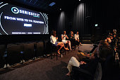 General atmosphere as moderator Kaily Smith Westbrook Katy Colloton Kate Lambert and Brad Gardner speak during the SeriesFest Season Two 'From Web to...