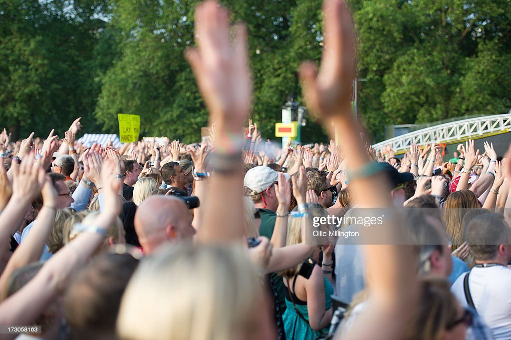 General Atmosphere at the British Summer Time Festival at Hyde Park on July 5, 2013 in London, England.
