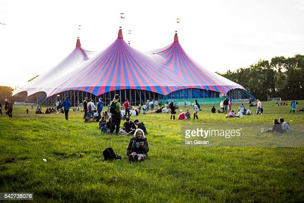 General atmosphere at the Glastonbury Festival at Worthy Farm Pilton on June 23 2016 in Glastonbury England Now in its 46th year the festival is one...