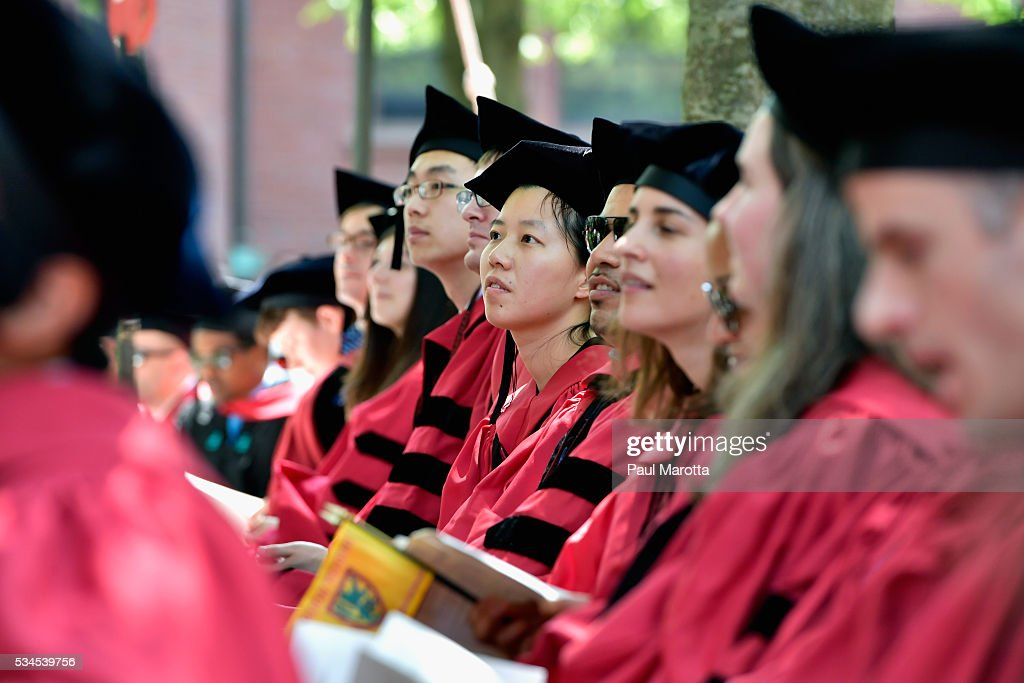 General atmosphere at the Harvard University 365th Commencement Exercises on May 26, 2016 in Cambridge, Massachusetts.