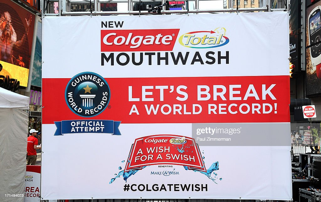 General atmosphere at the launch of the new Colgate Total advanced Pro-Shield Mouthwash hosting 'A Wish for a Swish' at a special event to attempt to set a new Guinness World Record for the most people using mouthwash simultaneously at Times Square on June 25, 2013 in New York City.