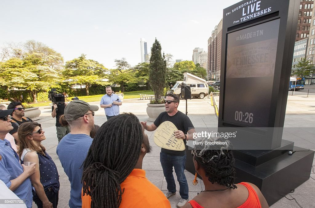 General atmosphere during the live-stream performance of musical artists Old Crow Medicine Show and Jason Isbell, performing at the Country Music Hall of Fame in Nashville, Tennessee, at Congress Park on May 24, 2016 in Chicago, Illinois.