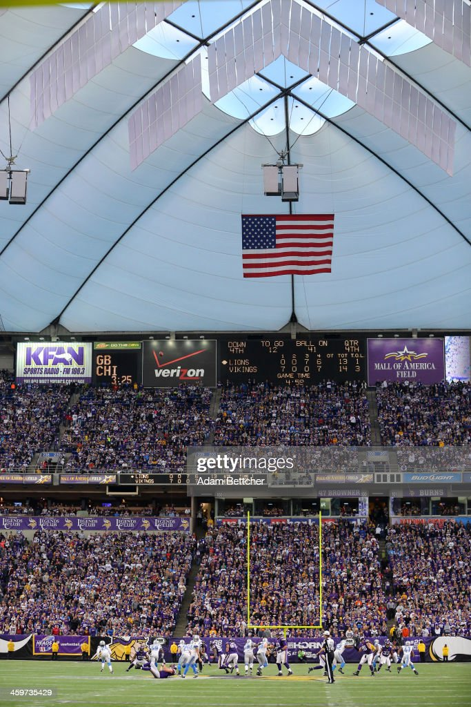 General atmosphere of the Minnesota Vikings versus Detroit Lions on December 29, 2013 at Mall of America Field at the Hubert H. Humphrey Metrodome in Minneapolis, Minnesota.