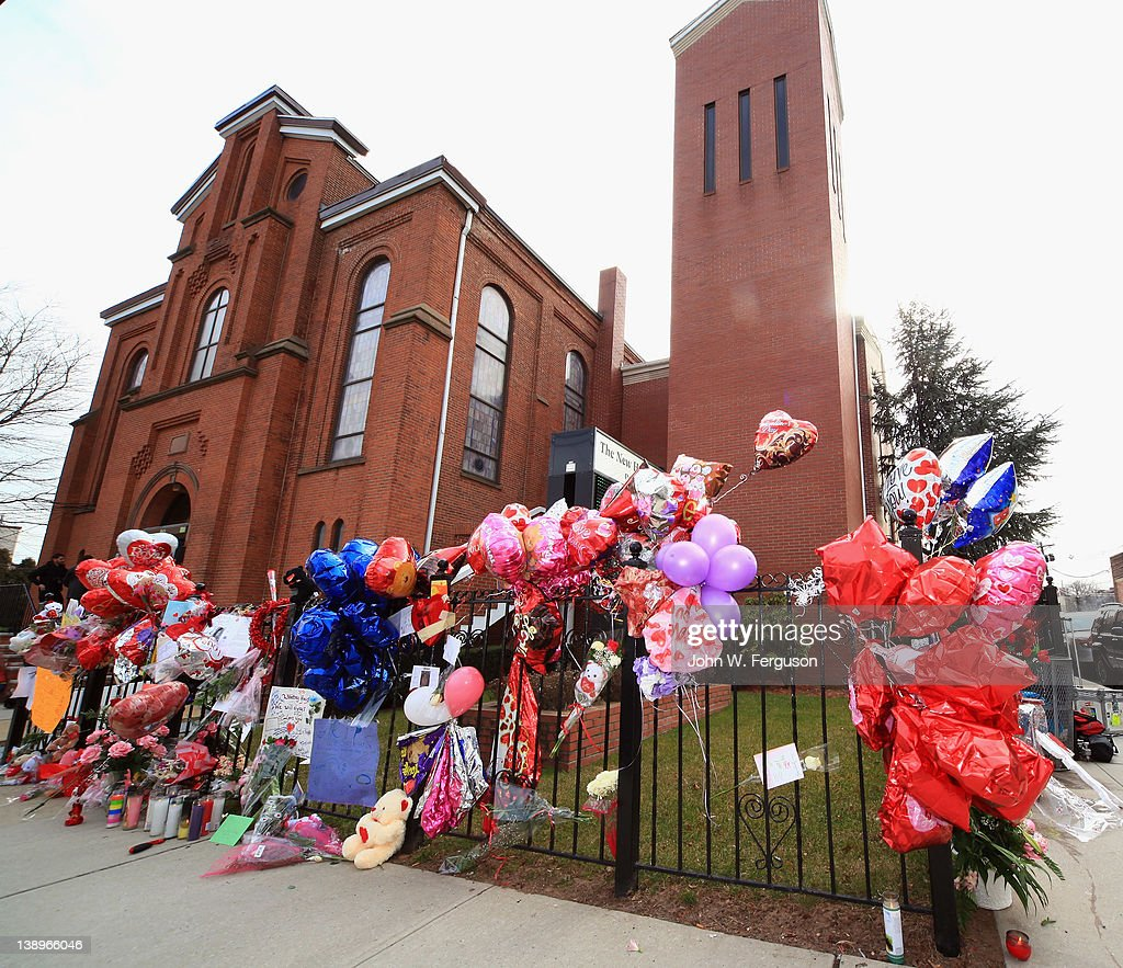 General atmosphere outside of The New Hope Baptist Church on February 14, 2012 in Newark City. Singer Whitney Houston died on February 11, 2012 at The Beverly Hilton hotel in Beverly Hills, CA.