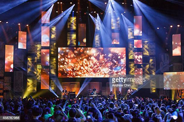 A general atmosphere view of Neverest performance during 'We Day Vancouver' at Rogers Arena on October 22 2014 in Vancouver Canada