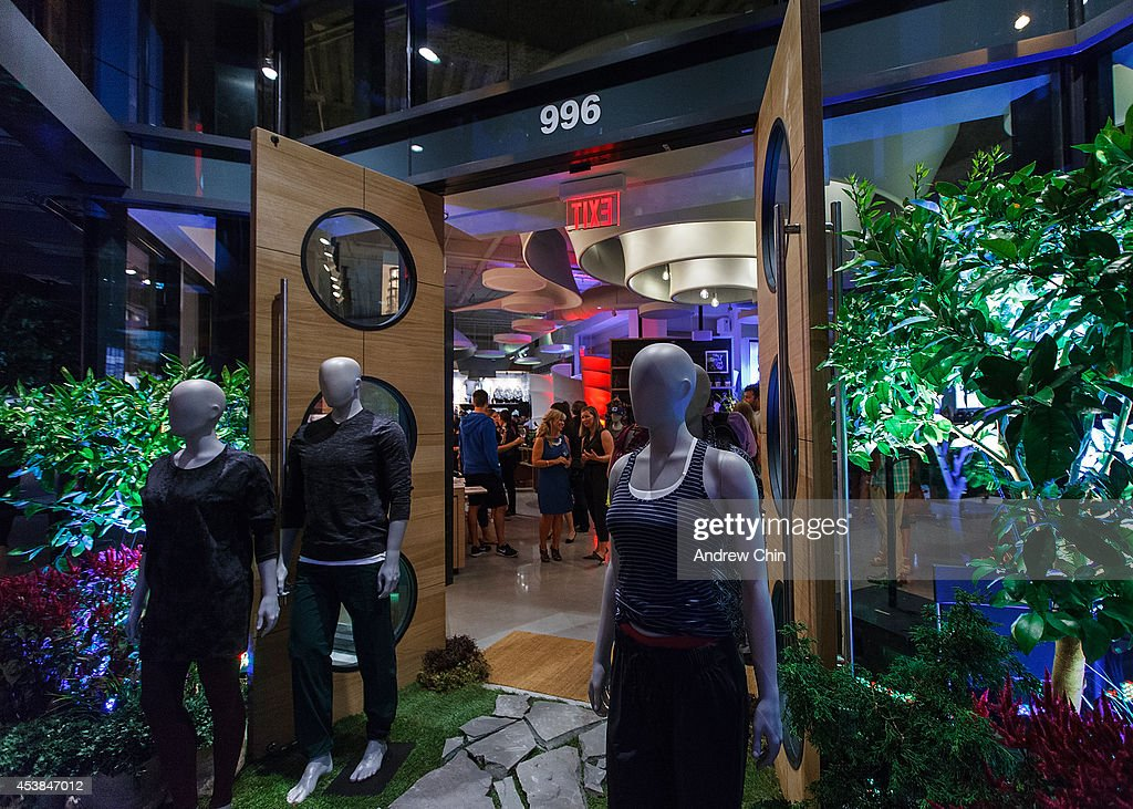 A general atmosphere view of the Lululemon Athletica flagship store opening party at 970 Robson Street on August 19, 2014 in Vancouver, Canada.