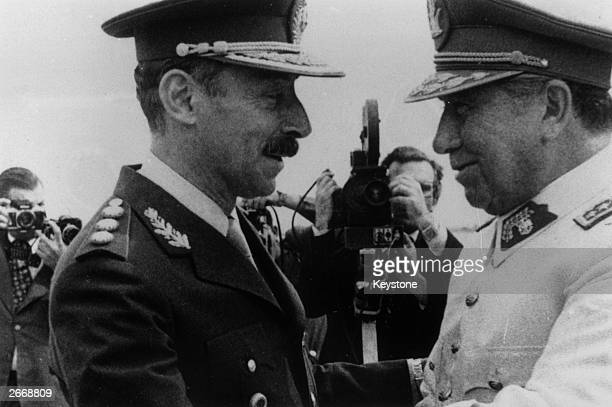General Augusto Pinochet the President of Chile with General Jorge Videla the President of Argentina in Mendoza Argentina