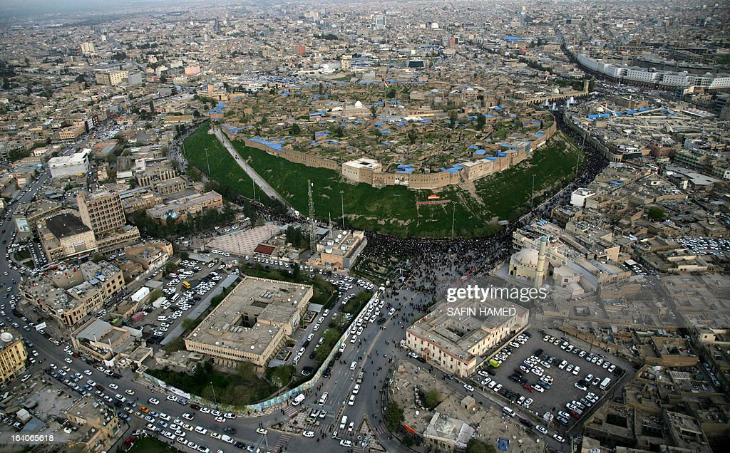 A general birds-eye view shows the northern Iraqi city of Arbil, the capital of the autonomous Kurdistan region, on 19 March 2013. AFP PHOTO / SAFIN HAMED