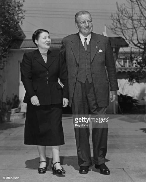 General Carlos Ibanez del Campo the President of Chile in the grounds of his home in Santiago Chile with his wife Graciela Letelier 1952 Ibanez has...