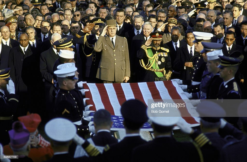General Charles De Gaulle, Haile Selassie, Chancellor Ludwig Erhard, Philippine Pres. Macapagal, South Korean Pres. Chung Hee Park among others at the burial of John F. Kennedy, Arlington National Cemetery, Va.