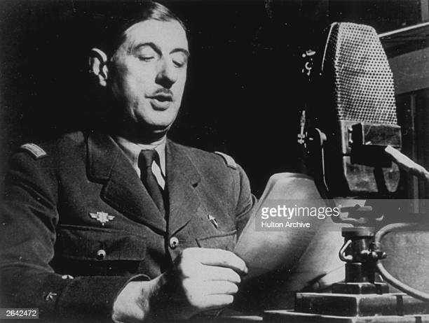 General Charles de Gaulle in London delivering his historical speech asking French people to fight Germany in spite of the Truce signed by Marchall...