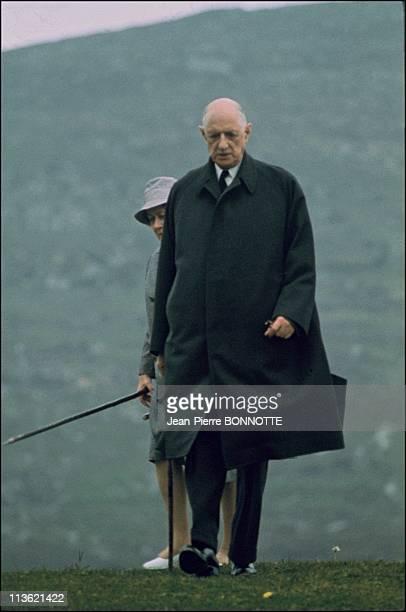 General Charles de Gaulle walks during May 1969 in Ireland