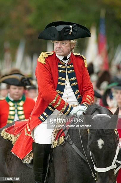 General Charles O'Hara comes to Surrender Field to surrender Lord Cornwallis' sword to General George Washington at the 225th Anniversary of the...