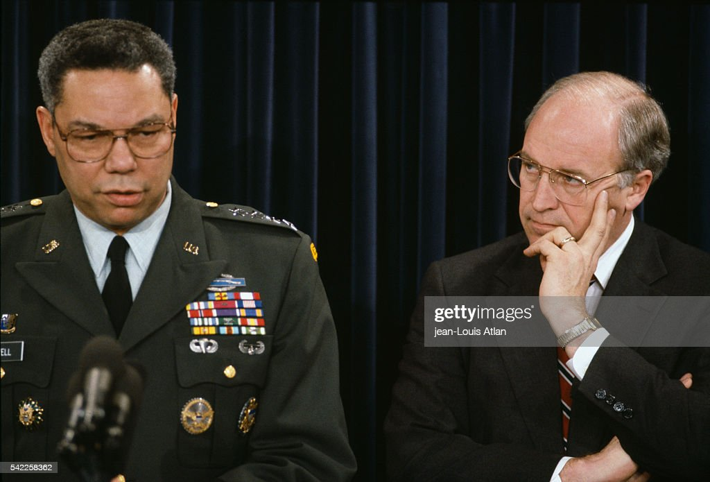 General Colin Powell and Secretary of Defense Dick Cheney hold a press conference at the Pentagon to discuss the status of the Persian Gulf War In...