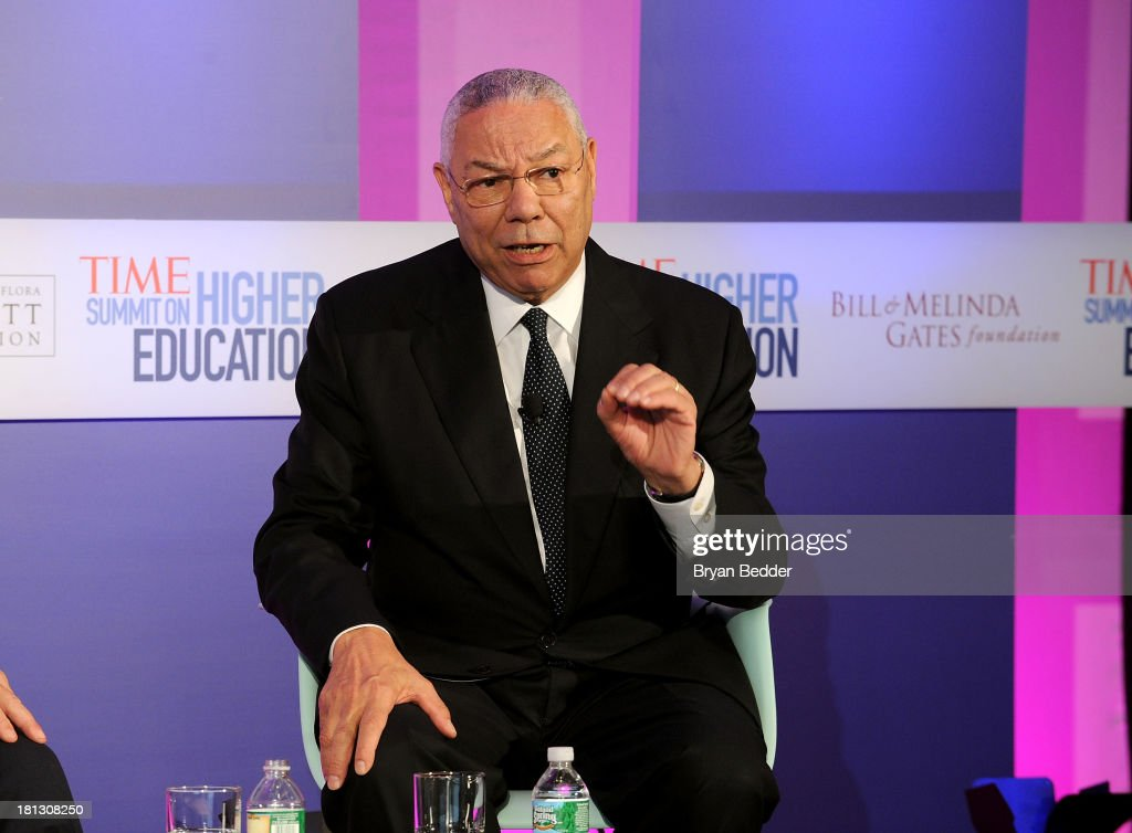 General <a gi-track='captionPersonalityLinkClicked' href=/galleries/search?phrase=Colin+Powell&family=editorial&specificpeople=118599 ng-click='$event.stopPropagation()'>Colin Powell</a> speaks at the TIME Summit On Higher Education Day 2 at Time Warner Center on September 20, 2013 in New York City.