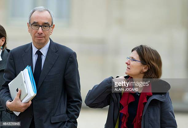 General comissioner of the general strategy and prospective Jean PisaniFerry and president of the economic analysis council Agnes BenassyQuere arrive...