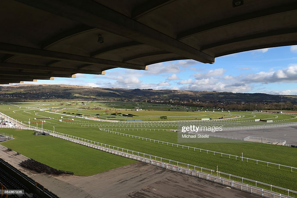 General course view from the Panoramic restaurant during a press conference promoting the Cheltenham Festival at Cheltenham Racecourse on February 25...