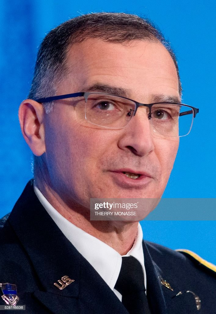 General Curtis Mike Scaparrotti, the new top commander, gives a press conference on May 4, 2016, during the change of command ceremony for NATOs Supreme Allied Commander Europe (SACEUR) at Supreme Headquarters Allied Powers Europe (SHAPE), in Mons. NATO change of command ceremony between generals Breedlove and Scaparrotti / AFP / Thierry Monasse