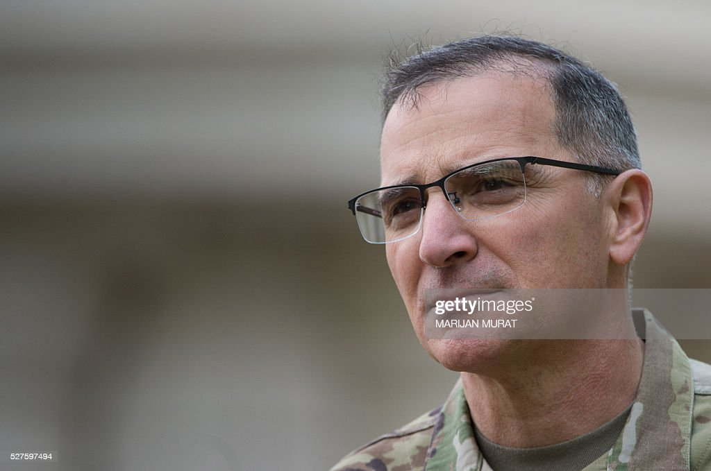 US General Curtis Scaparrotti, new Commander of the US European Command, is pictured during a ceremony on May 3, 2016 at the Patch Barracks in Stuttgart, southern Germany. The ceremony took place as US General Curtis Scaparrotti was introduced as Commander of the US European Command, taking over from US General Philip Breedlove. / AFP / dpa / Marijan Murat / Germany OUT