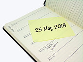 Sticky note reminder for General Data Protection Regulation which will come into effect on 25 May 2017