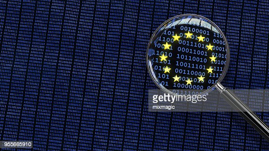 General Data Protection Regulation - Looking at GDPR data through magnifying glass : Stock Photo