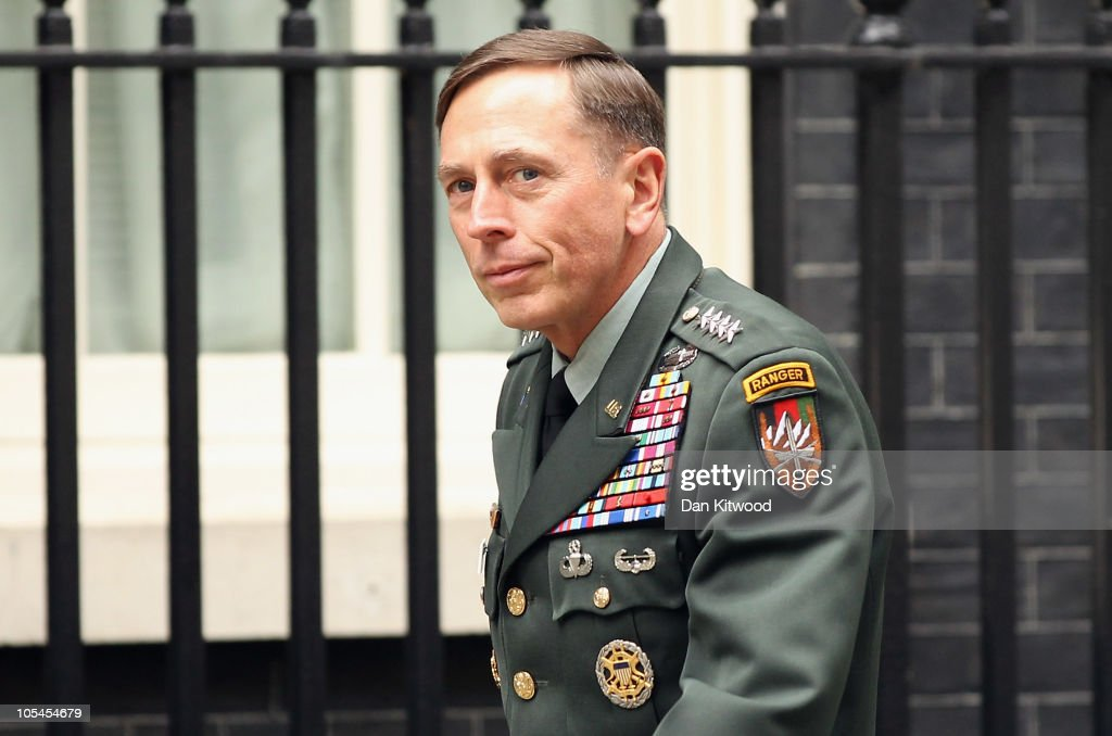 General <a gi-track='captionPersonalityLinkClicked' href=/galleries/search?phrase=David+Petraeus&family=editorial&specificpeople=175826 ng-click='$event.stopPropagation()'>David Petraeus</a> arrives at 10 Downing Street to meet British Prime Minister David Cameron on October 14, 2010 in London, England. Petraeus, the top US commander in Afghanistan, has called for an investigation into the death of British aid worker Linda Norgrove, who was held hostage in Afghanistan. Ms Norgrove died after a failed rescue opperation by US forces on October 8, 2010 in Afghanistan.
