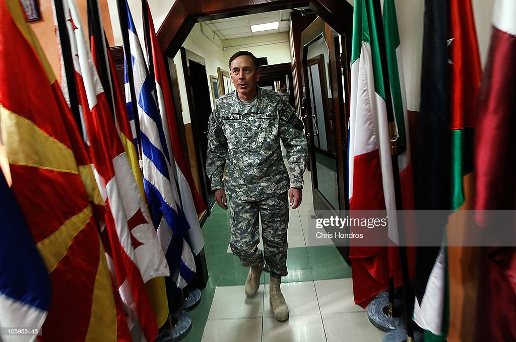 FRANCE OUT General David Petraeus commander of the International Security Assistance Force in Afghanistan walks in the hallway of ISAF headquarters...