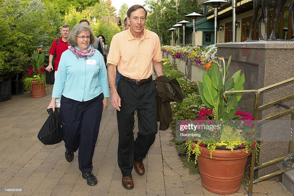 General David Petraeus, director of the Central Intelligence Agency, and his wife Holly Petraeus, arrive for the morning session at the Allen & Co. Media and Technology Conference in Sun Valley, Idaho, U.S., on Saturday, July 14, 2012. Some of the media industry's largest buyouts have been hatched or moved forward at Sun Valley, including Comcast Corp's 2011 purchase of NBC Universal. Photographer: David Paul Morris/Bloomberg via Getty Images