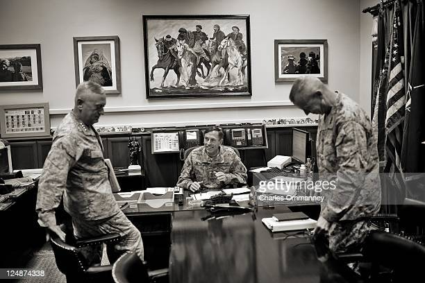 *EXCLUSIVE* General David Petraeus has a meeting in his office at ISAF with his boss CENTCOM commander General James N Mattis and General John Allen...