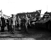 General De Lattre de Tassigny C G 1st French Army US Maj Gen Frank W Milburn C G XXI Corps and US Maj Gen C G 28th Inf Div makes inspection tour of...