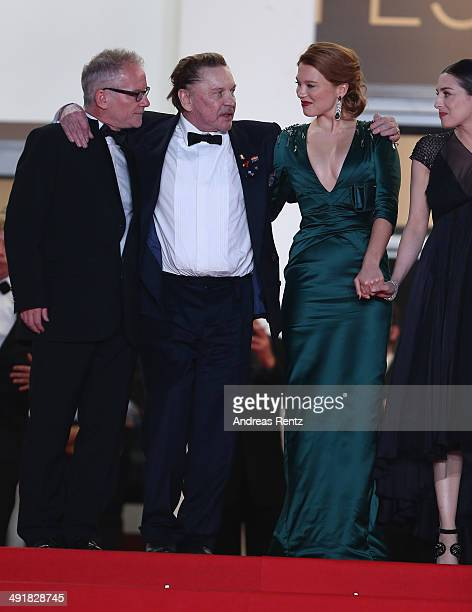General Delegate of the Cannes Film Festival Thierry Fremaux actors Helmut Berger and Lea Seydoux attend the 'Saint Laurent' Premiere at the 67th...