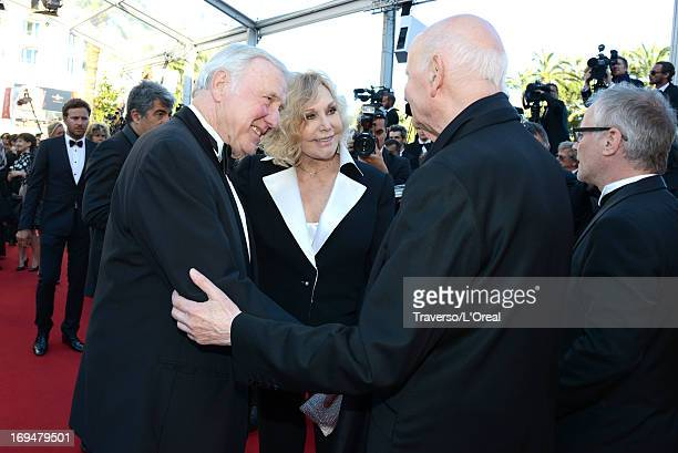 General Delegate of the Cannes Film Festival Thierry Fremaux and President of the Cannes International Film Festival Gilles Jacob greet actress Kim...