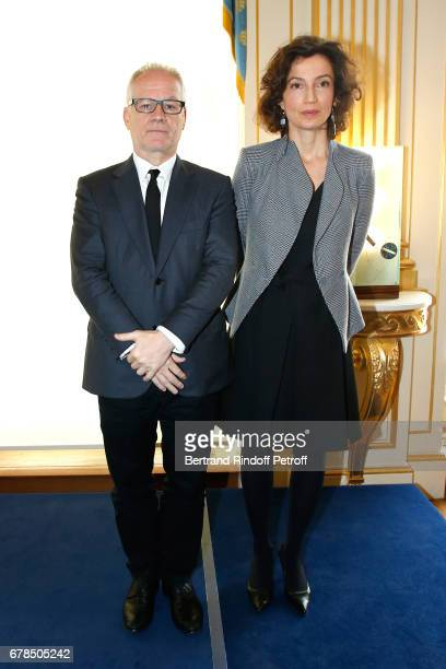 General Delegate of the Cannes Film Festival Thierry Fremaux and French Minister of Culture and Communication Audrey Azoulay attend Audrey Azoulay...