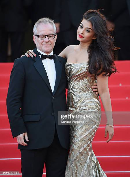 General Delegate of the Cannes Film Festival Thierry Fremaux and actress Aishwarya Rai attend the 'Two Days One Night' premiere during the 67th...
