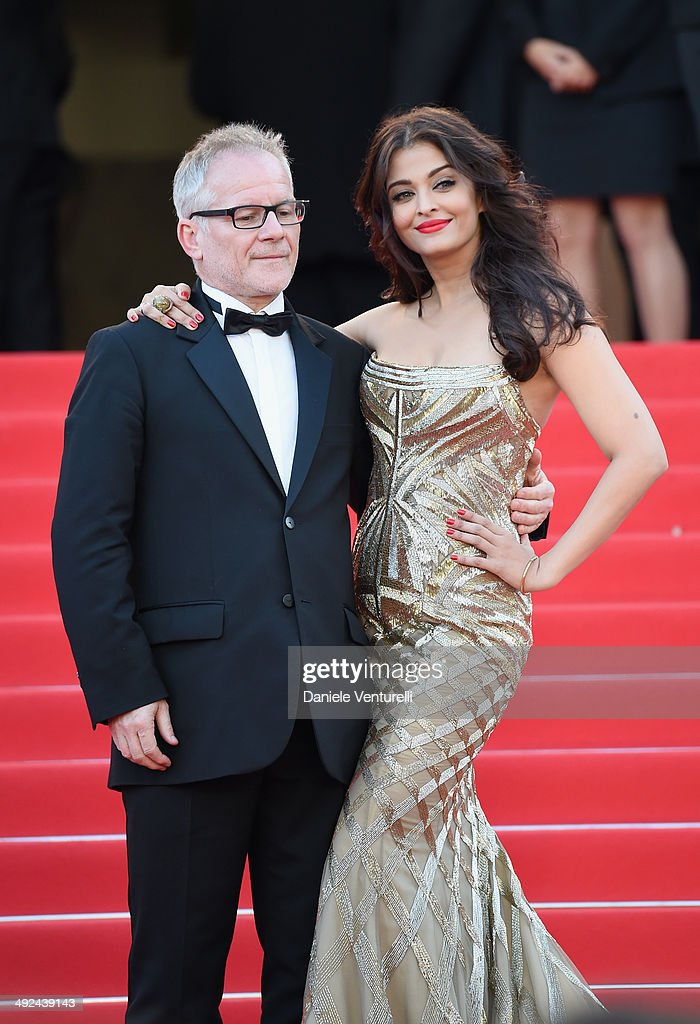 General Delegate of the Cannes Film Festival <a gi-track='captionPersonalityLinkClicked' href=/galleries/search?phrase=Thierry+Fremaux&family=editorial&specificpeople=618039 ng-click='$event.stopPropagation()'>Thierry Fremaux</a> and actress <a gi-track='captionPersonalityLinkClicked' href=/galleries/search?phrase=Aishwarya+Rai&family=editorial&specificpeople=202237 ng-click='$event.stopPropagation()'>Aishwarya Rai</a> attend the 'Two Days, One Night' premiere during the 67th Annual Cannes Film Festival on May 20, 2014 in Cannes, France.