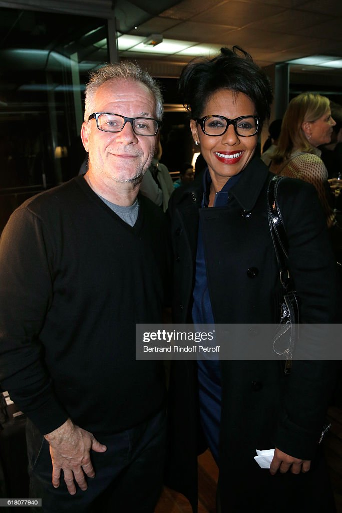 General Delegate of the Cannes Film Festival Thierry Fremaux and Journalist Audrey Pulvar attend the Japenese Artist Takeshi Kitano receives the French Legion of Honor By Jack Lang at Fondation Cartier on October 25, 2016 in Paris, France.