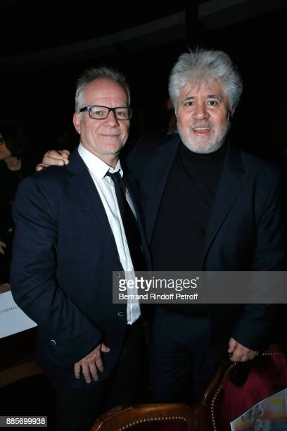General Delegate of the Cannes Film Festival Thierry Fremaux and director Pedro Almodovar attend the Tribute to Actress Jeanne Moreau at Odeon...
