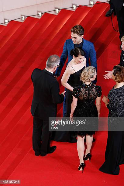 General Delegate of the Cannes Film Festival Thierry Fremaux greets actress Anne Dorval director Xavier Dolan Suzanne Clement attends the 'Mommy'...