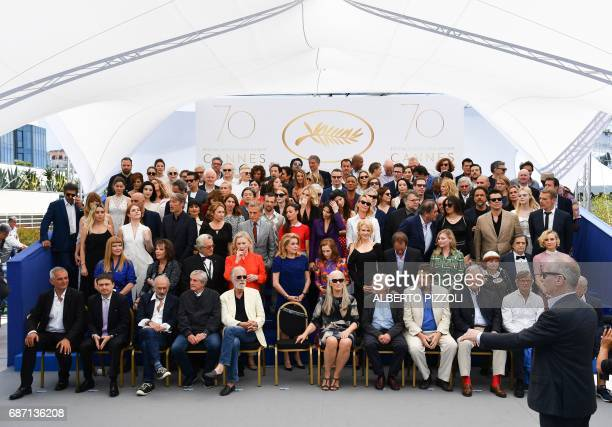 General Delegate of the Cannes Film Festival Thierry Fremaux talks as French director Laurent Cantet Romanian director Cristian Mungiu US director...