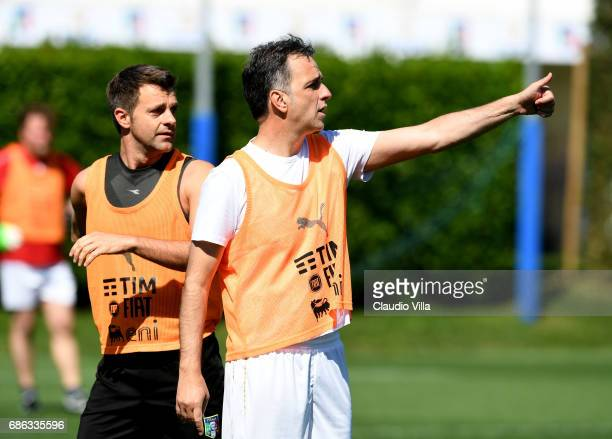General Director FIGC Michele Uva and Nicola Rizzoli react during a friendly match during the Italian Football Federation Kick Off Seminar on May 21...
