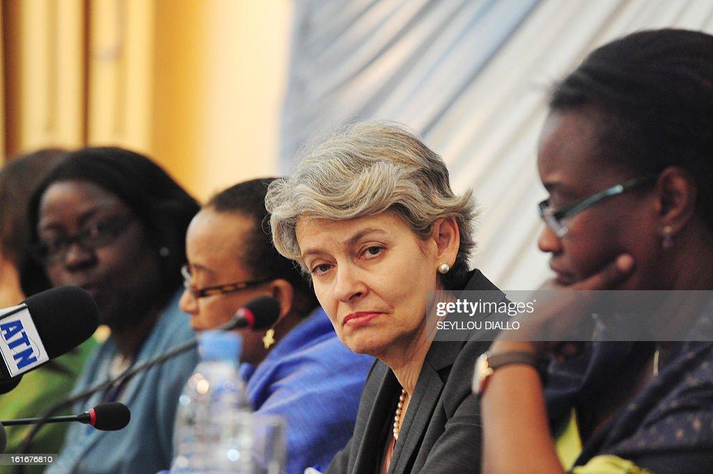 UNESCO general director Irina Bokova of Bulgaria attends a press conference on February 14, 2013 in Dakar.