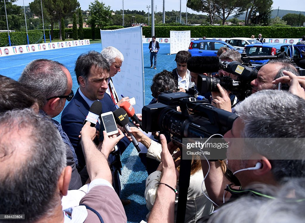 General Director Italy Michele Uva speaks with the media during tha Unveil New Panda Azzurri Car at Coverciano on May 26, 2016 in Florence, Italy.