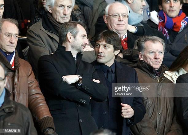 General Director Jean Claude Blanc and the manager Leonardo Araujo of Paris Saint Germain during the French Ligue 1 between Paris Saint Germain and...